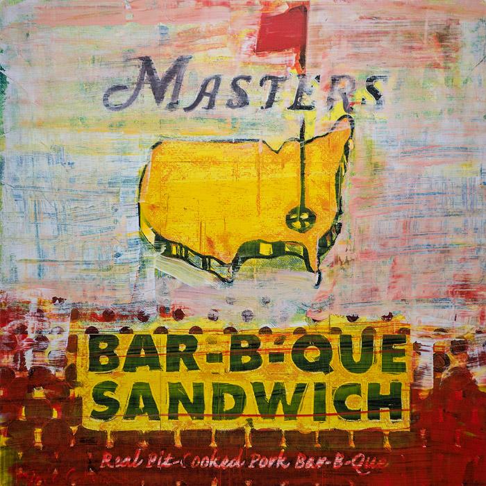 PLAID COLUMNS   Masters Bar-B-Que mixed media on pane 19 x 19 inches $1800