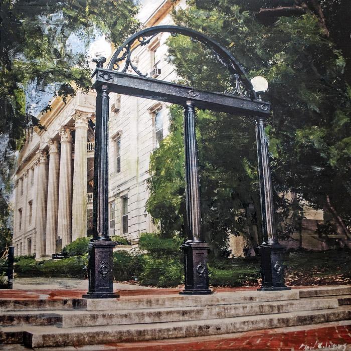 PLAID COLUMNS    UGA Arch  mixed media on pane 36 x 36 inches $3800