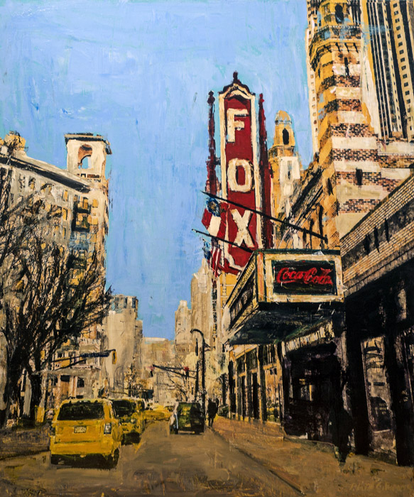 PLAID COLUMNS    The Fox on Peachtree  mixed media on panel 54 x 48 inches $5500