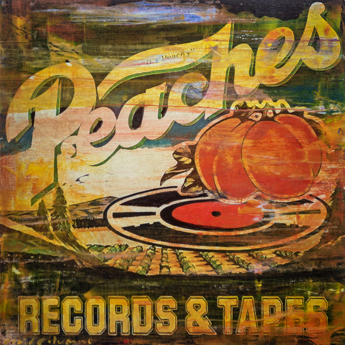 PLAID COLUMNS    Peaches  mixed media on panel 18 x 18 inches $1200