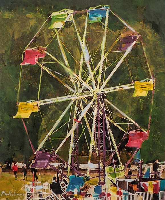 Plaid Columns   Ferris Wheel  mixed media on canvas 11 x 14 inches 15 x 18 inches framed $600 unframed $700 framed
