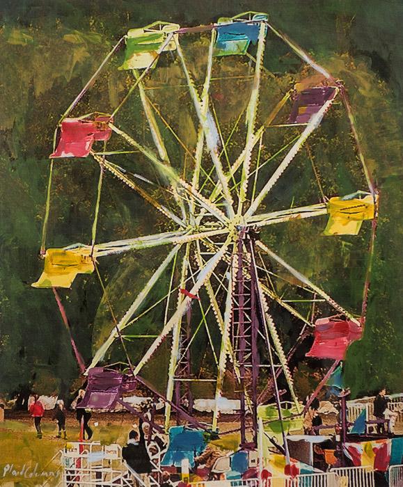 PLAID COLUMNS    Ferris Wheel  mixed media on canvas 11 x 14 inches 15 x 18 inches framed $600 unframed $700 framed