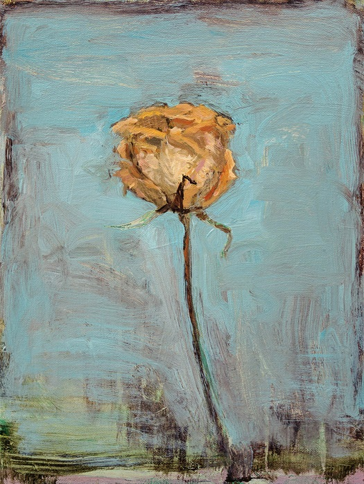 EVAN JONES   Still Life With Rose  acrylic on canvas 16 x 12 inches