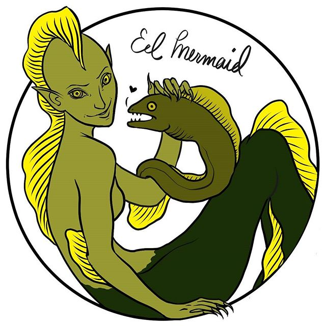 Quick eel mermaid for MerMay 05/12/16 #mermay