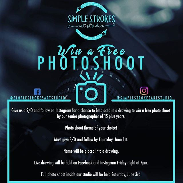 @simplestrokesartstudio is giving out a free photo shoot. Photo edits included. Photo shoot will be held in our studio with the theme of your choice! Our photographers are ready! Flyer credit @jrob_onthestoop  Rules- Give us a S/O & follow using this flyer by Thursday June 1st and your name will be placed in a drawing to win a free photo shoot of your choice. We will have a live drawing on FB & IG. Drawing will be held Friday @ 7pm & Photo Shoot will be held this Saturday. We will be drawing two names! #photoshoot #APSU #Clarksville #Models #simplestrokesartstudio