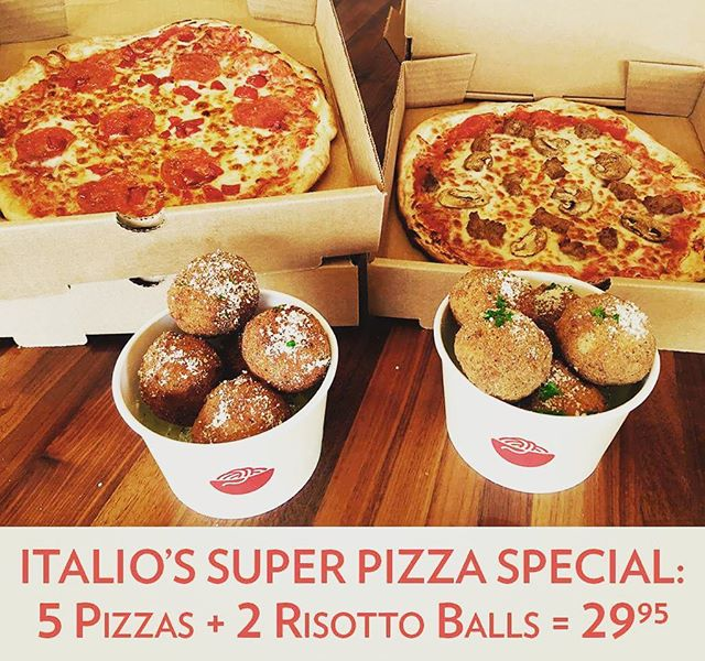 #superbowl Sunday #pizza special:  5 pizzas + 2 risotto balls = $29.95  Sunday February 6, all day long!