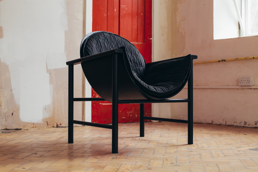 Lunar Chair by  Felix McCormach.   Upholstery made from quilted British wool.