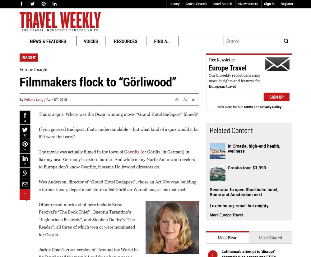 "Travel Weekly-Filmmakers flock to ""Görliwood"""