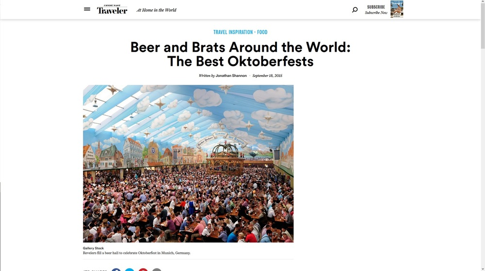 Condé Nast Traveler-Beer and Brats Around the World: The Best Oktoberfests