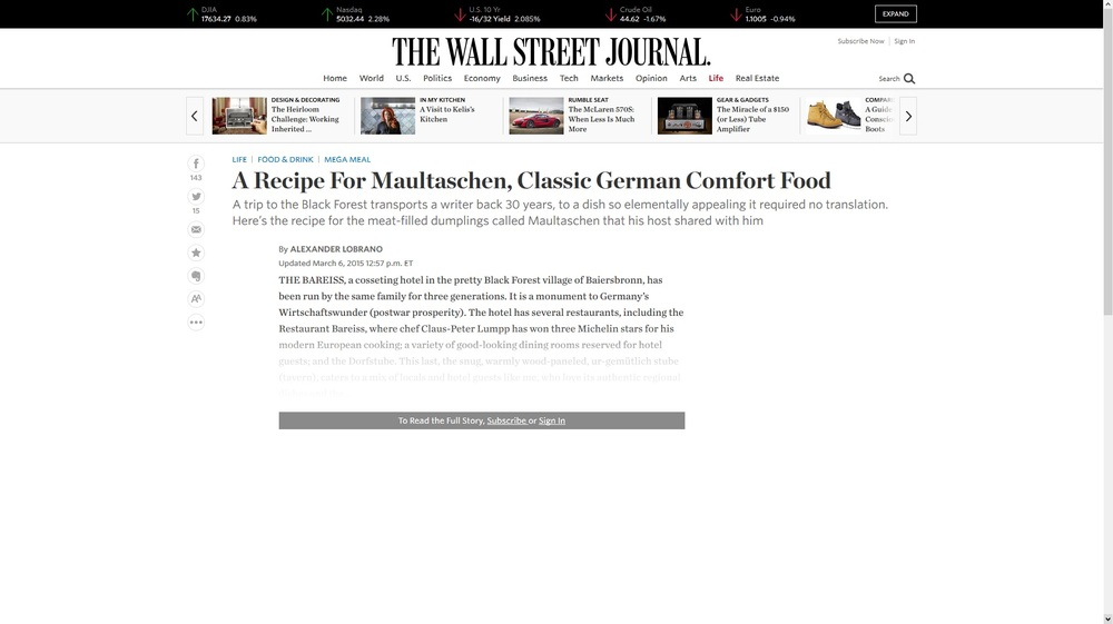 The Wall Street Journal-A Recipe For Maultaschen, Classic German Comfort Food