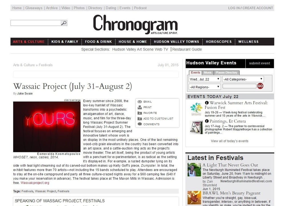Chronogram-Wassaic Project