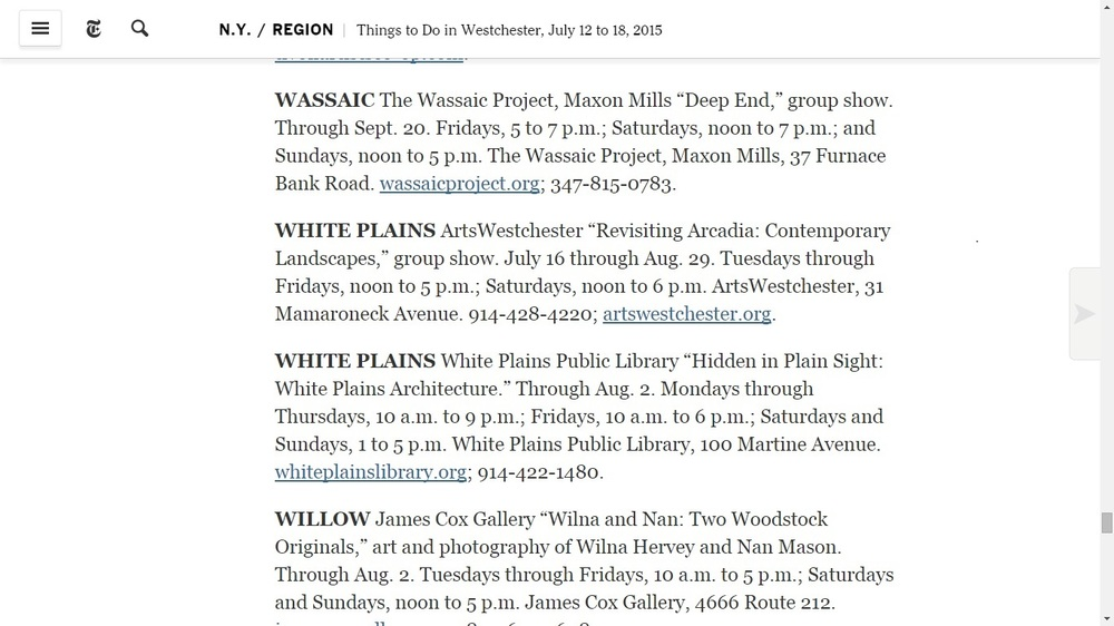 The New York Times-Things to Do in Westchester