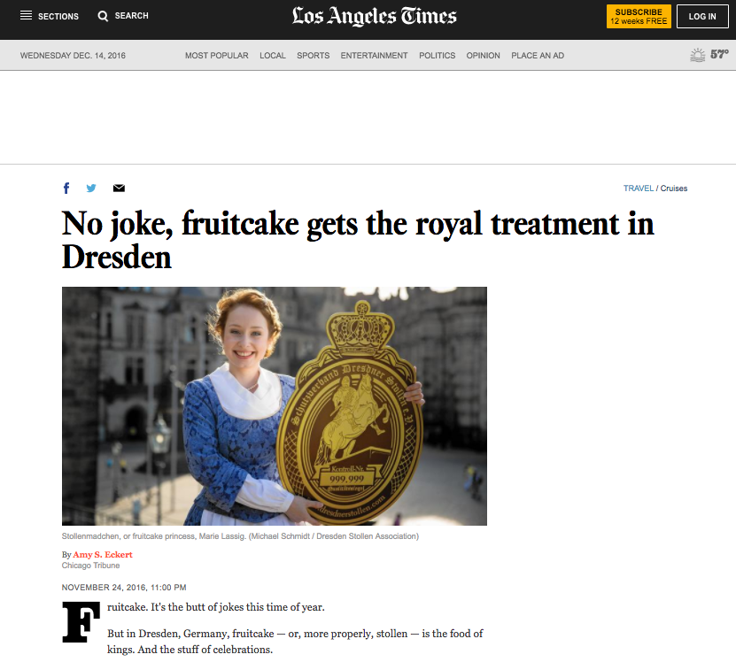 No Joke, Fruitcake gets the royal treatment in Dresden