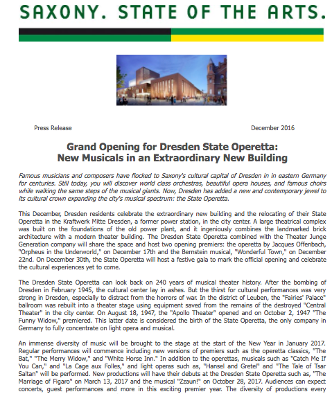 Grand Opening for Dresden State Operetta