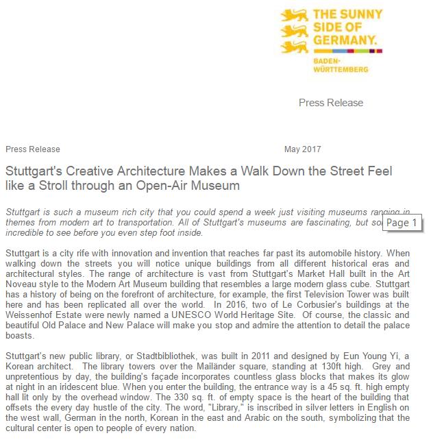 Stuttgart's Creative Architecture 2017
