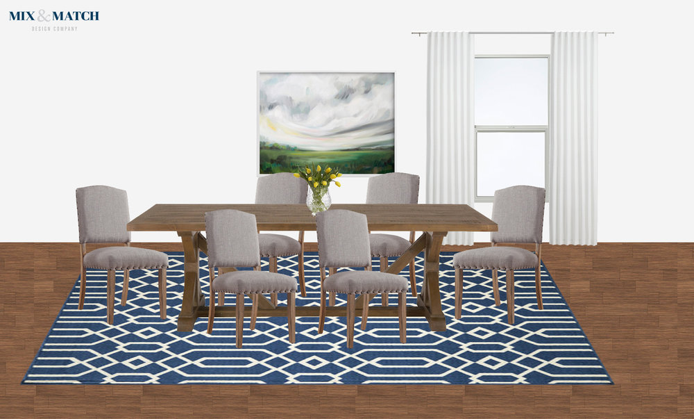 I designed three rooms for this client's new build, including this pretty dining room. They were ready for a grown up, modern farmhouse style space that could host a crowd.