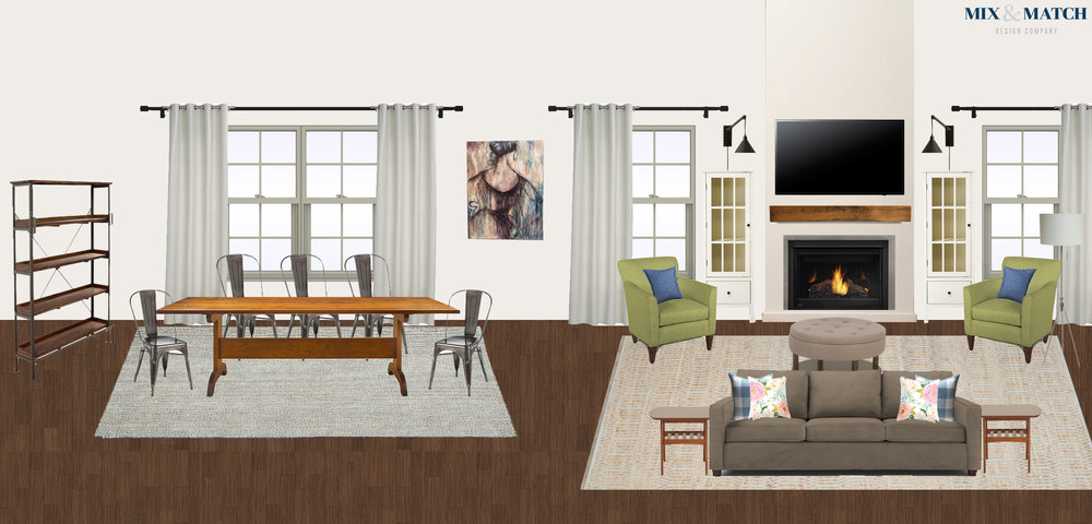 Here's an example of a finishing touches package for a family of four's living/dining area. They were transitioning from a smaller apartment to a new build house, and their main dilemmas were figuring out how to arrange furniture in a large, open concept space, pull together a consistent look, and keep it all kid-friendly.