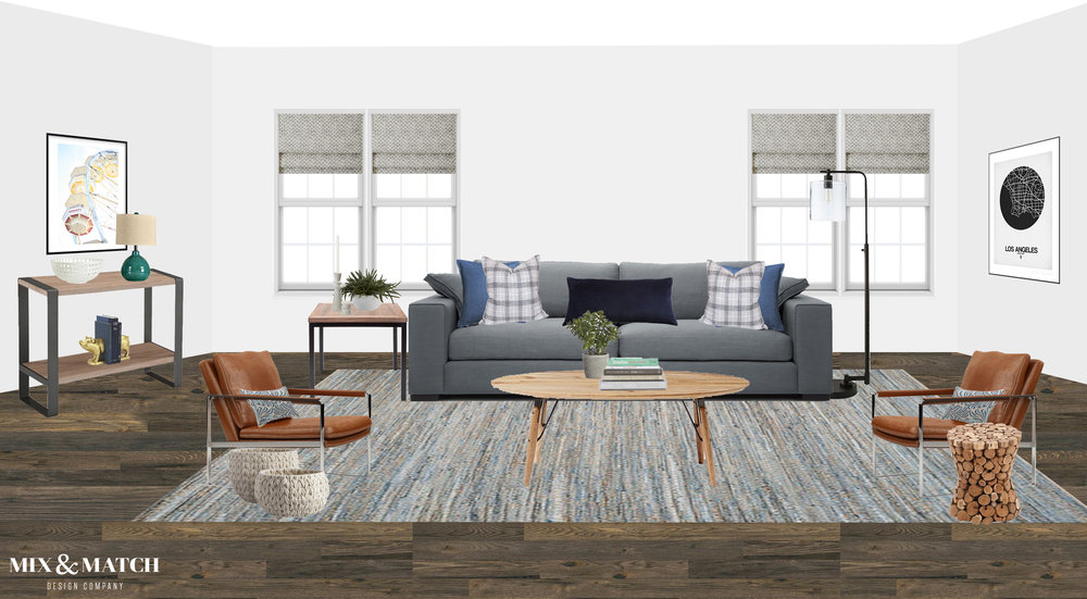 E-design plan for modern industrial living room.