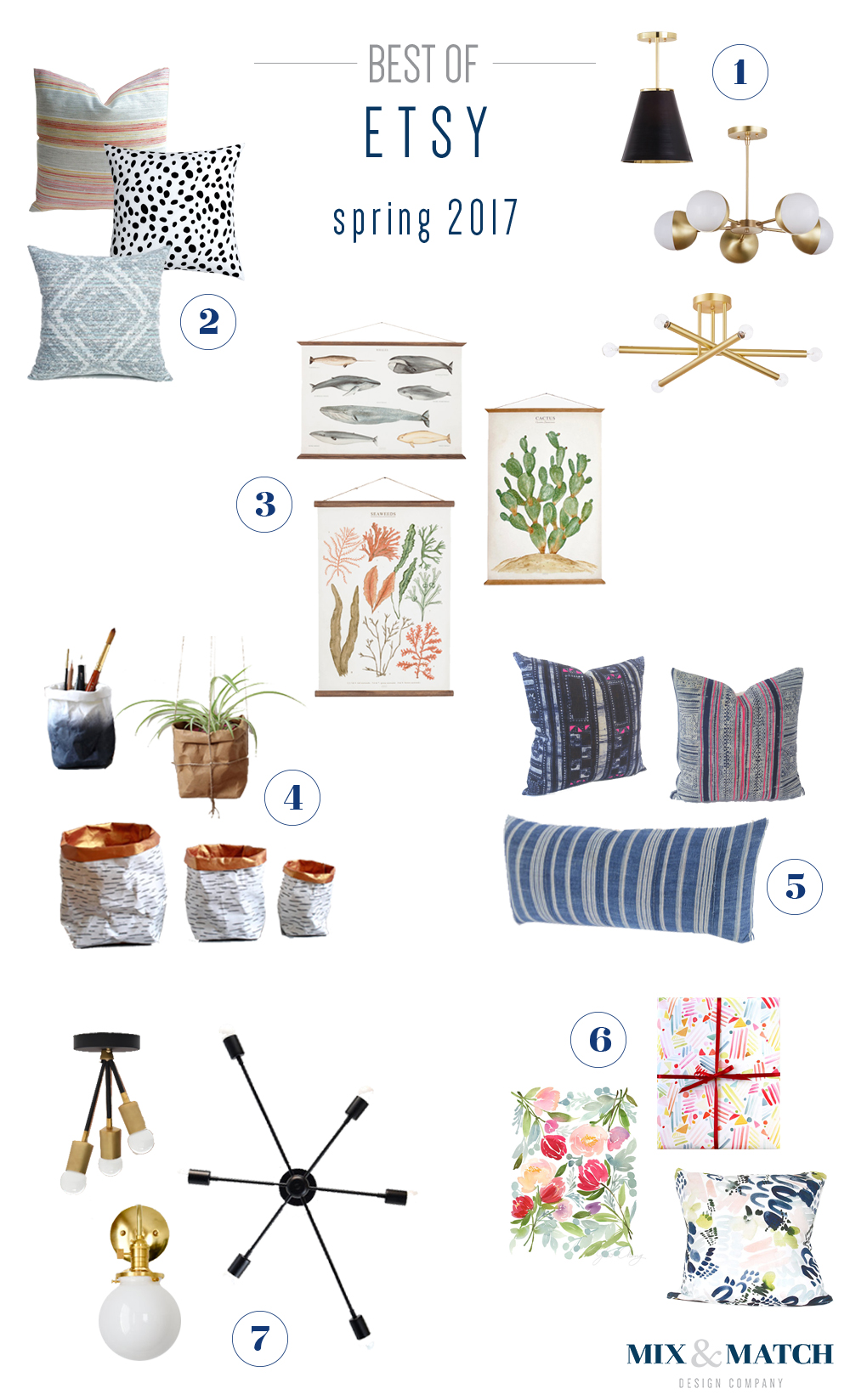 Mix & Match Design Company's favorite Etsy shops for pillows, lighting, art and a touch of home decor.