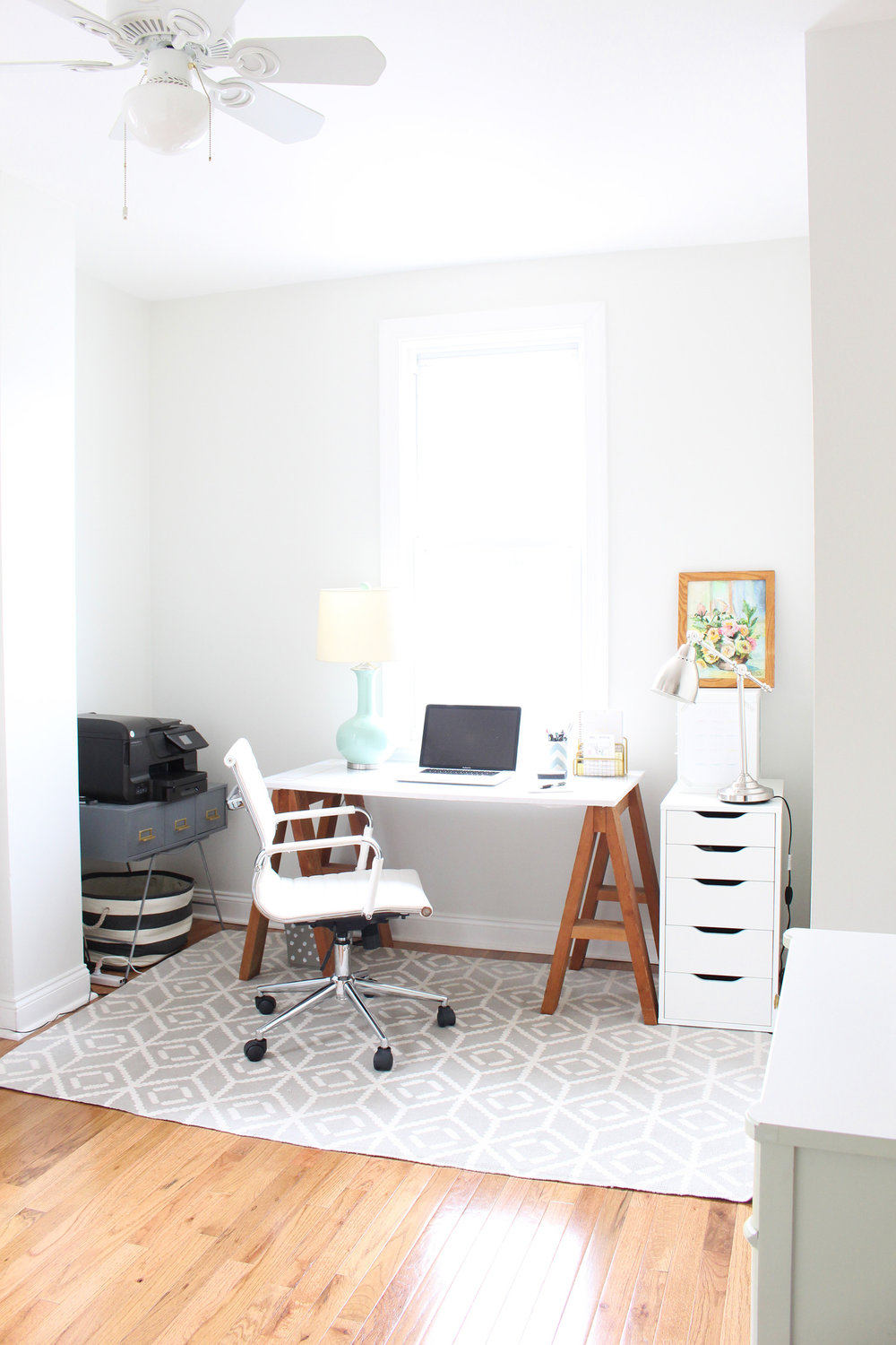 Light and bright home office.