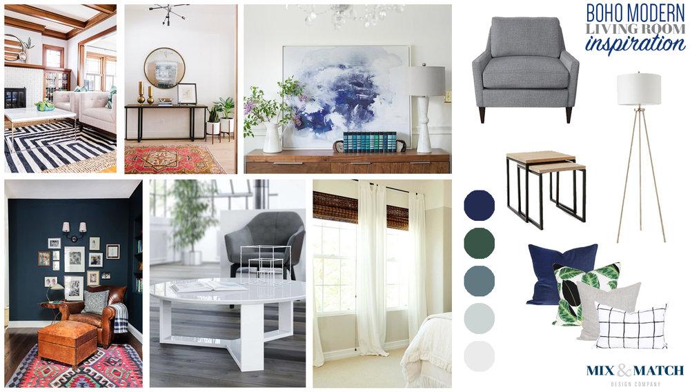Boho (bohemian) modern living room inspiration
