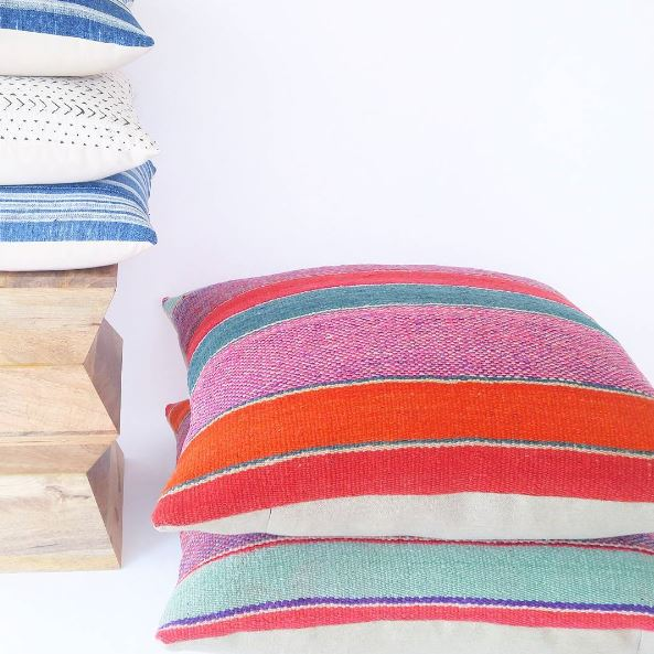 Peruvian Frazada pillows via  Royal Bohemian Home