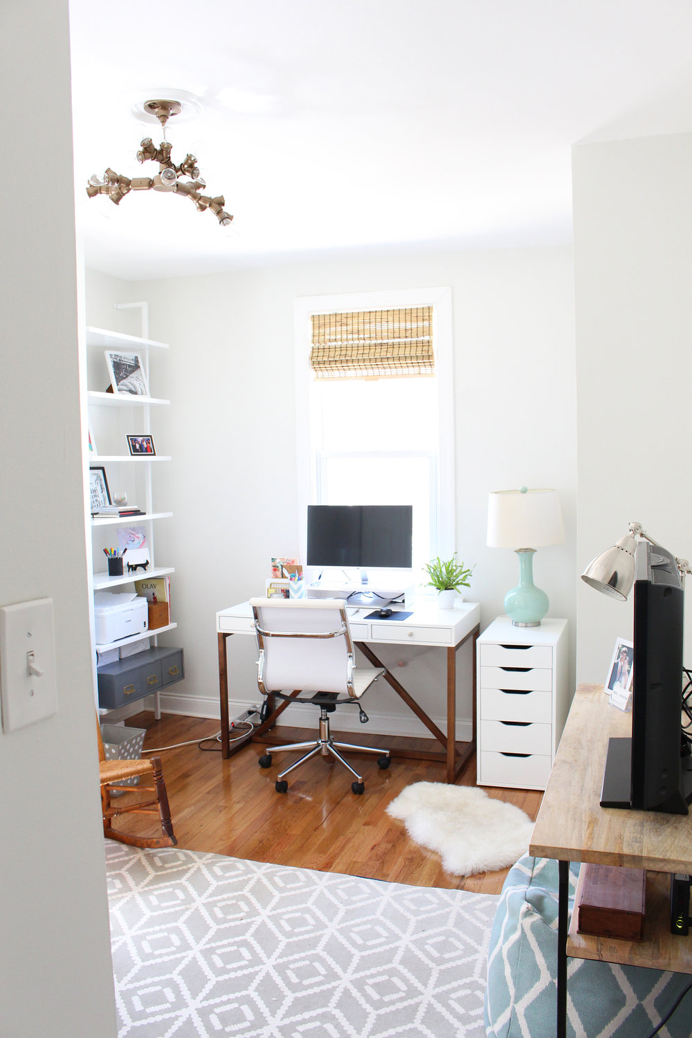 One Room Challenge Week 3: bright, modern/bohemian office makeover progress in the workspace area.