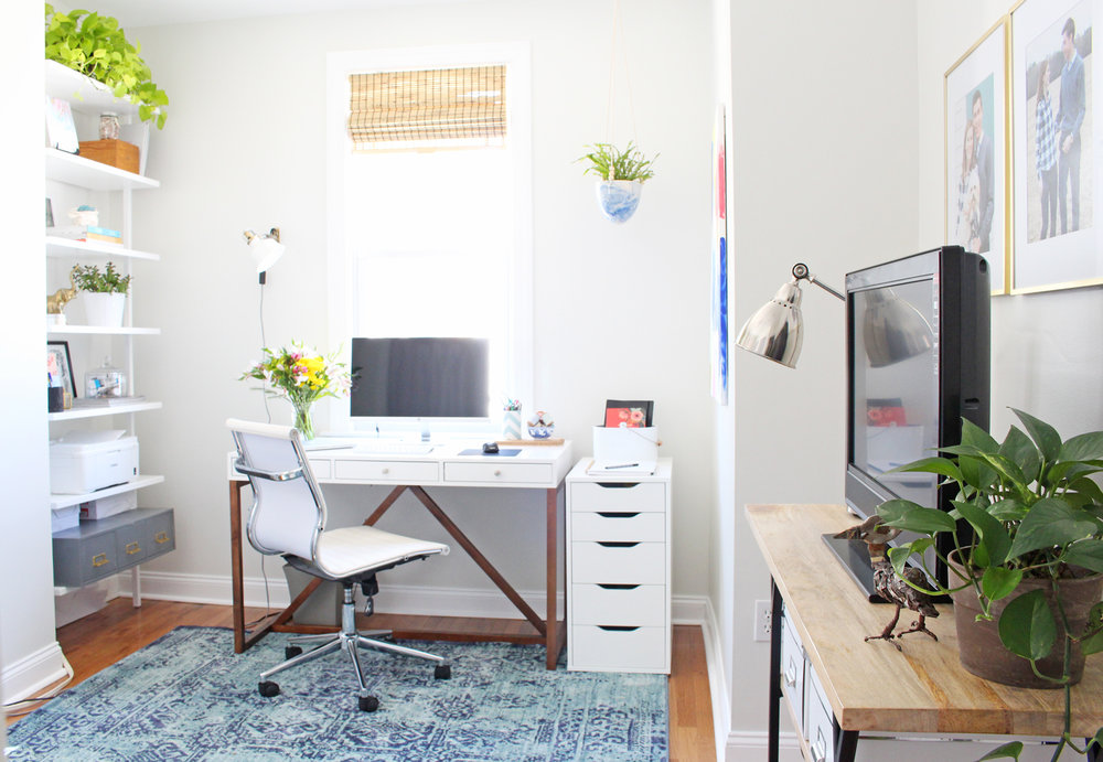 An interior design's light-filled, modern bohemian home office.