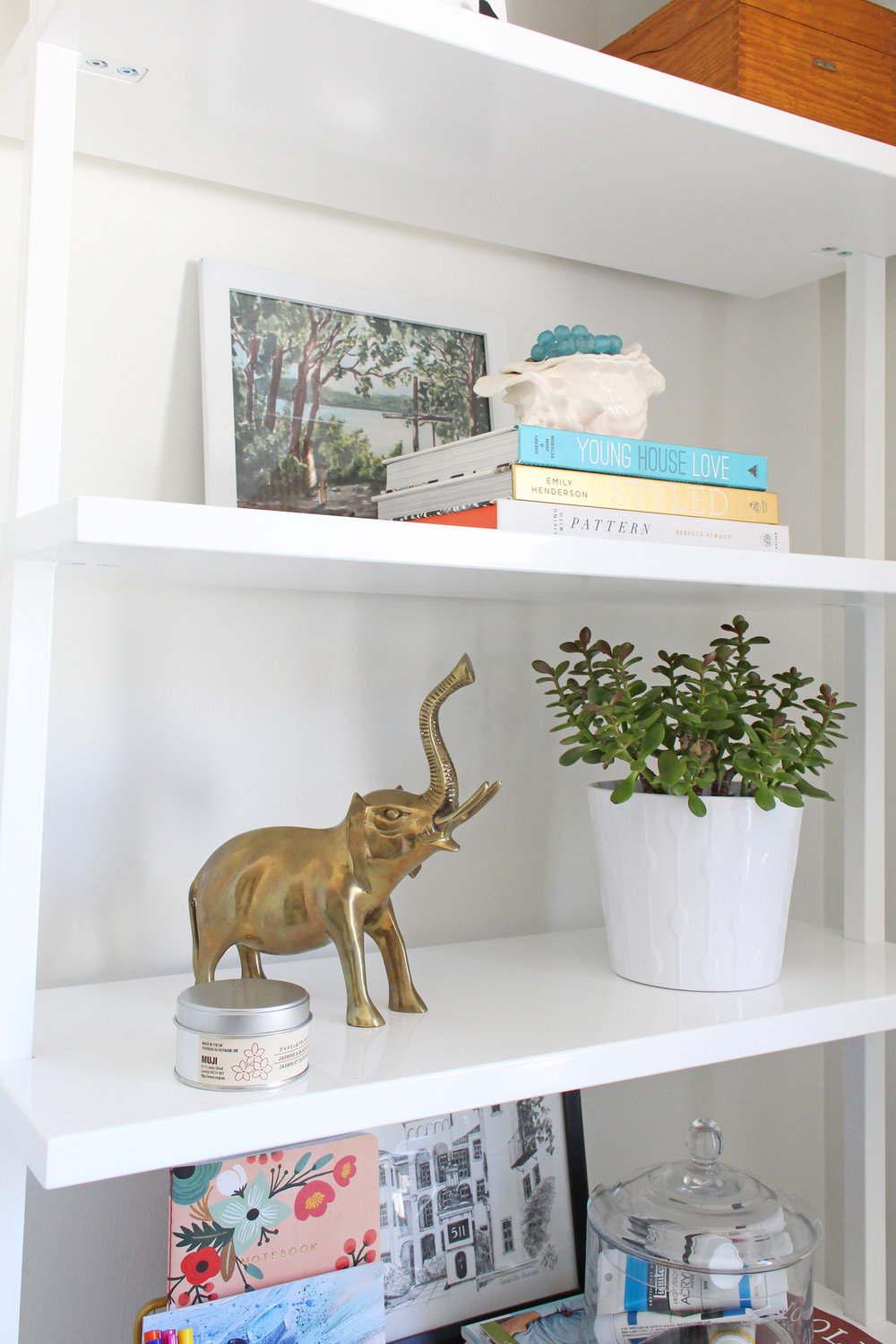 Vintage brass elephant and a jade plant on bookshelf.