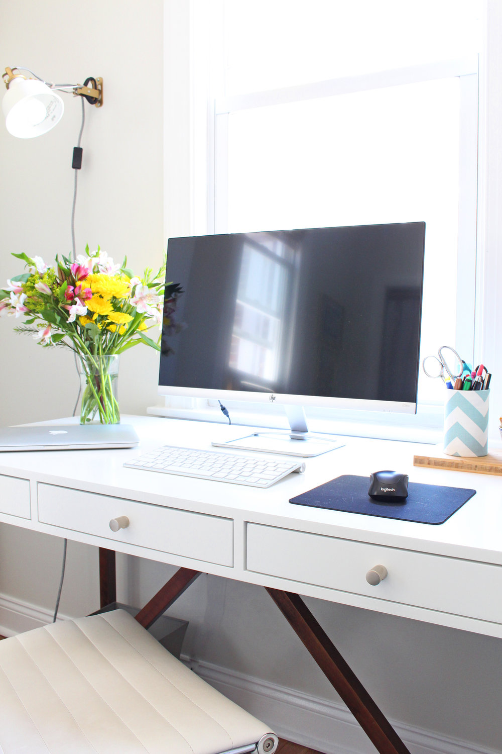 Sleek and modern desk for Mix & Match's home office.