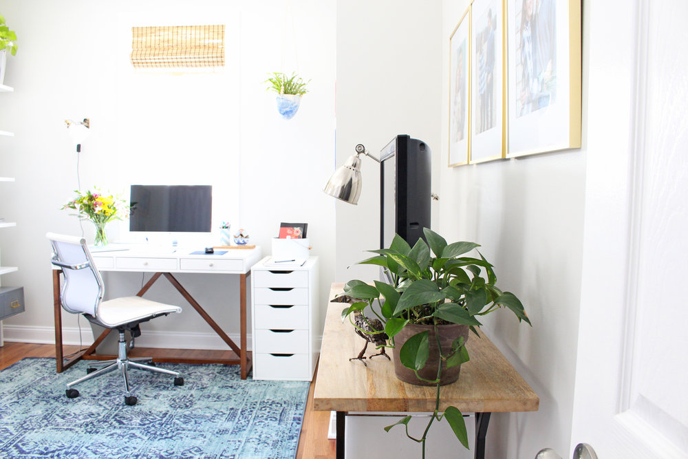 Modern and bright - with a touch of boho - home office.