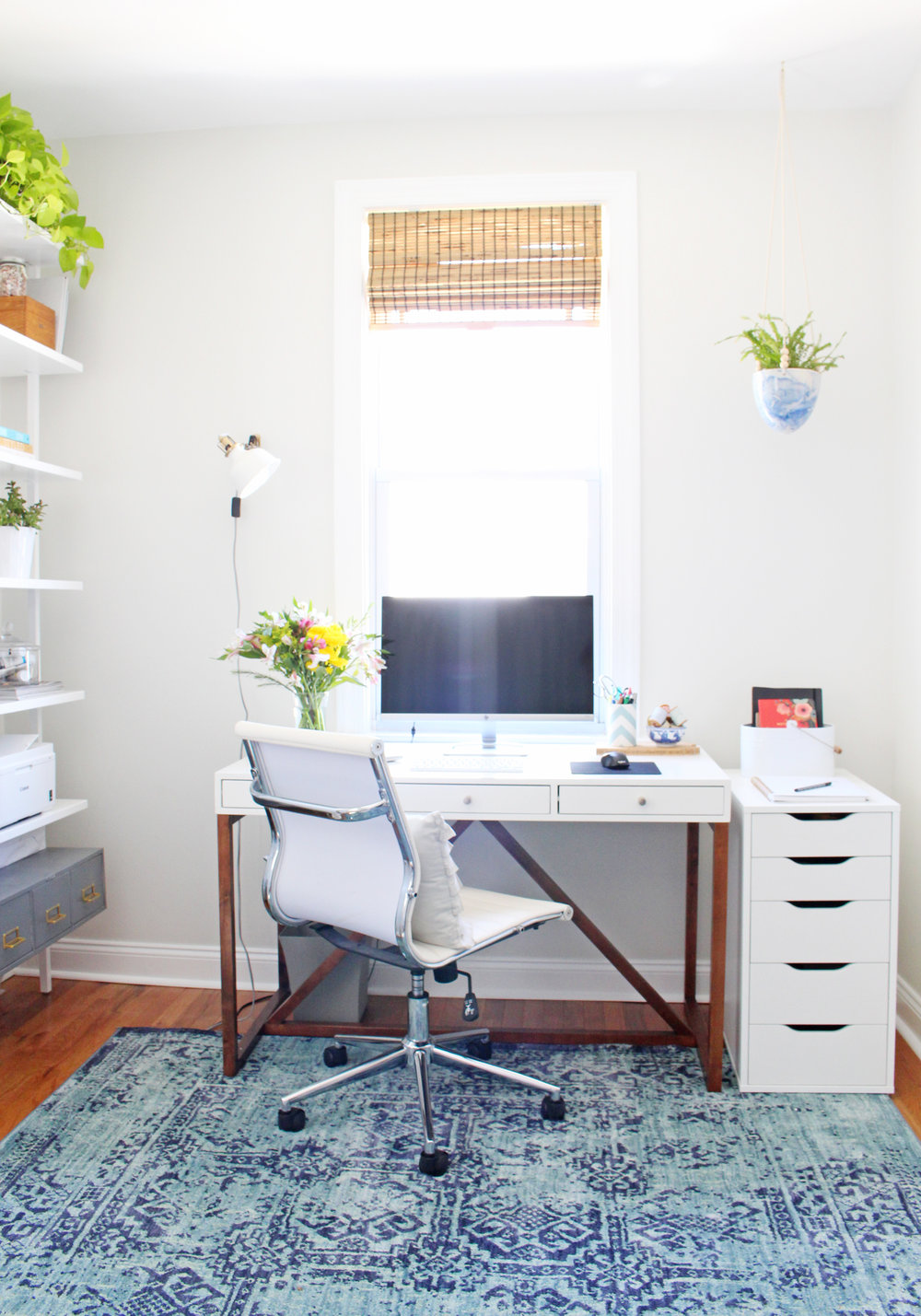 Modern, light and airy - with a touch of boho - home office.