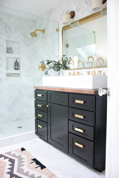 House Updated's elegant, modern and functional master bathroom.