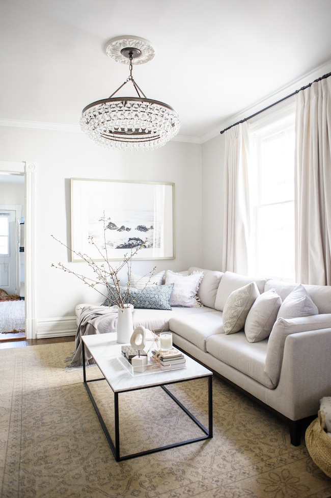 Lark and Linen's elegant and approachable living room.