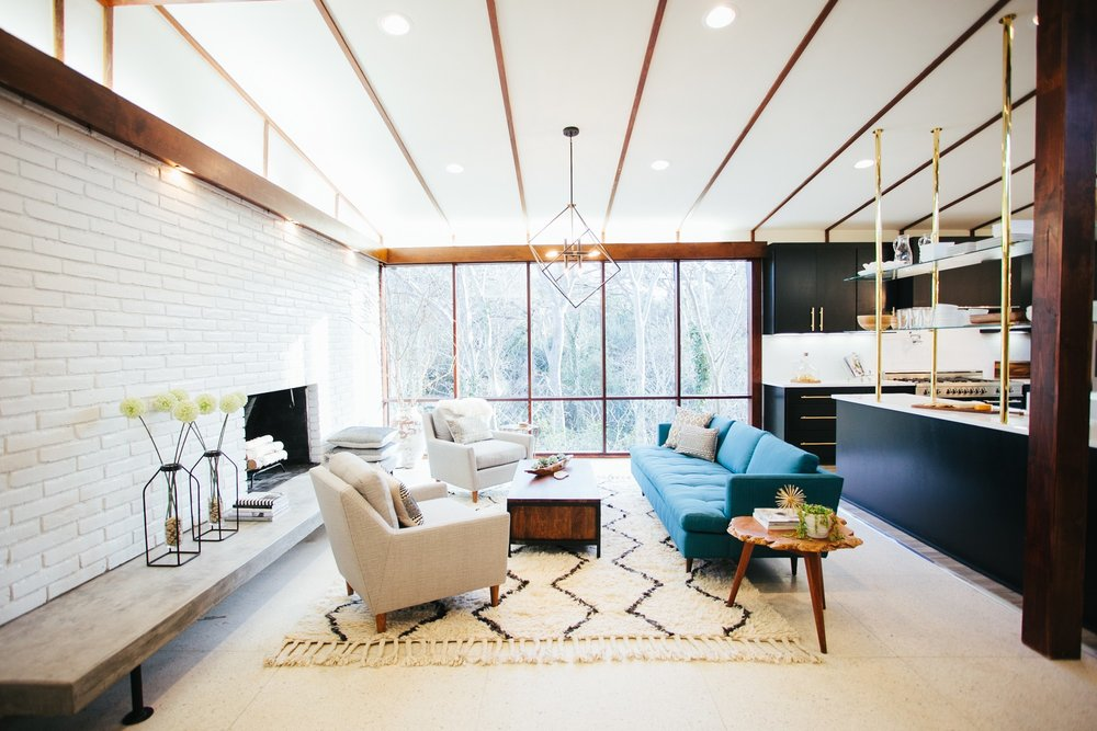Mid-Century Modern living room from HGTV's Fixer Upper.