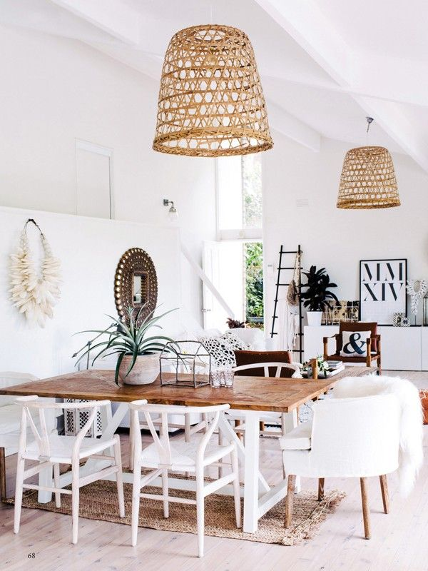 Get The Look White Amp Wood Coastal Boho Dining Room Mix