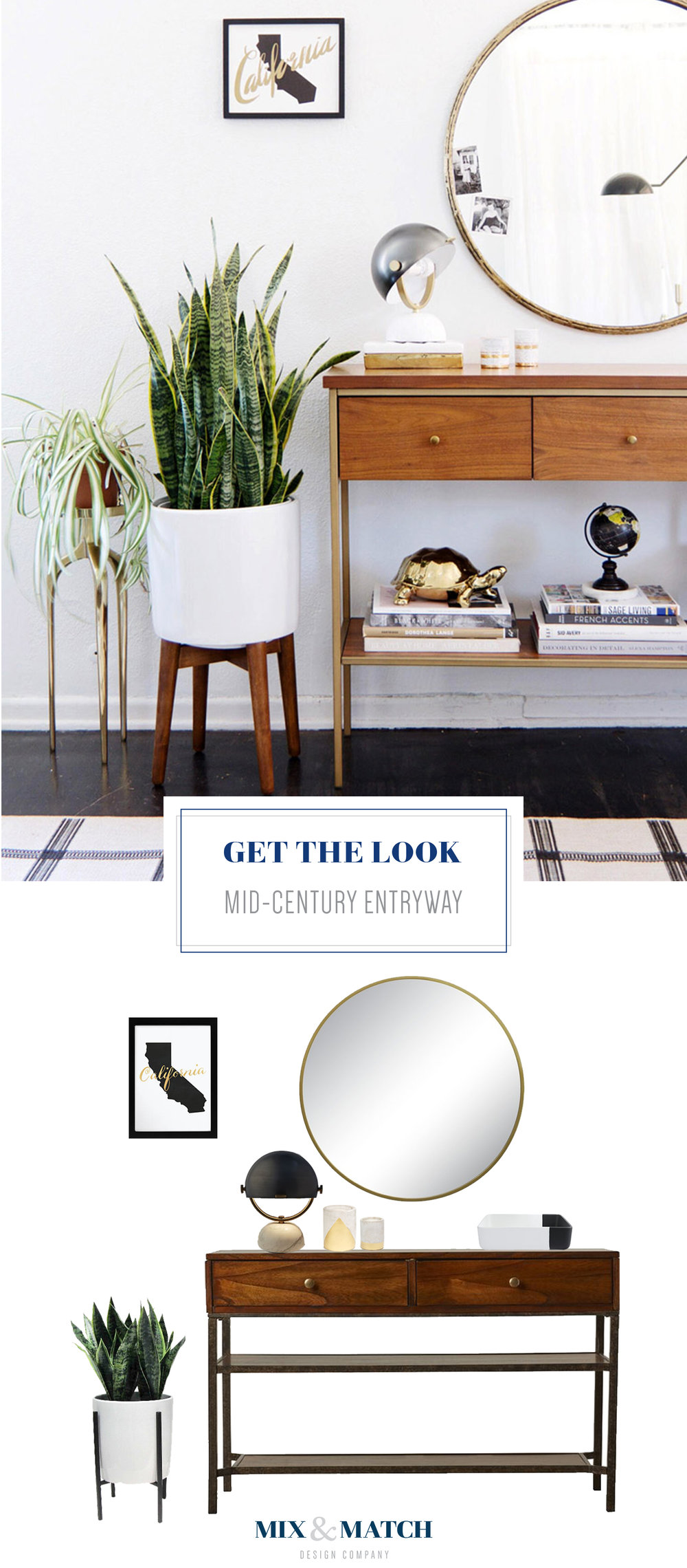 Get the look of this mid-century inspired entryway. Pair a console table with a round mirror, and add a few accessories to finish the look!