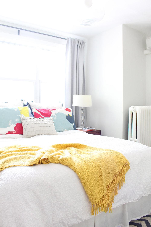 An interior designer's modern eclectic master bedroom.