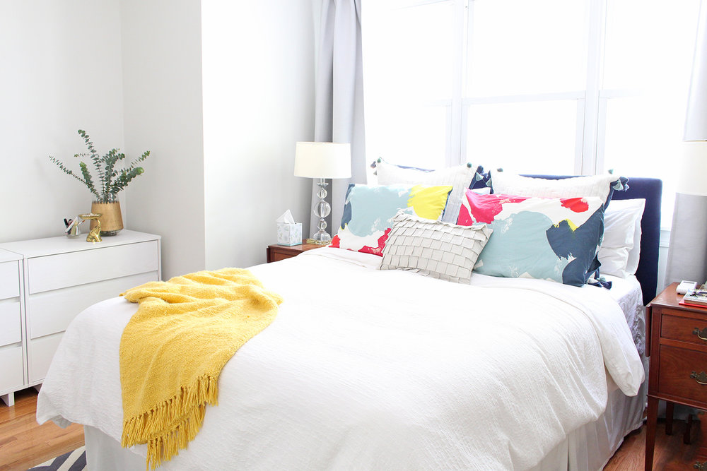 A designer's bright and airy master bedroom in Philadelphia.