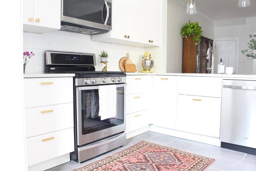 A modern, white, IKEA kitchen in Philadelphia.
