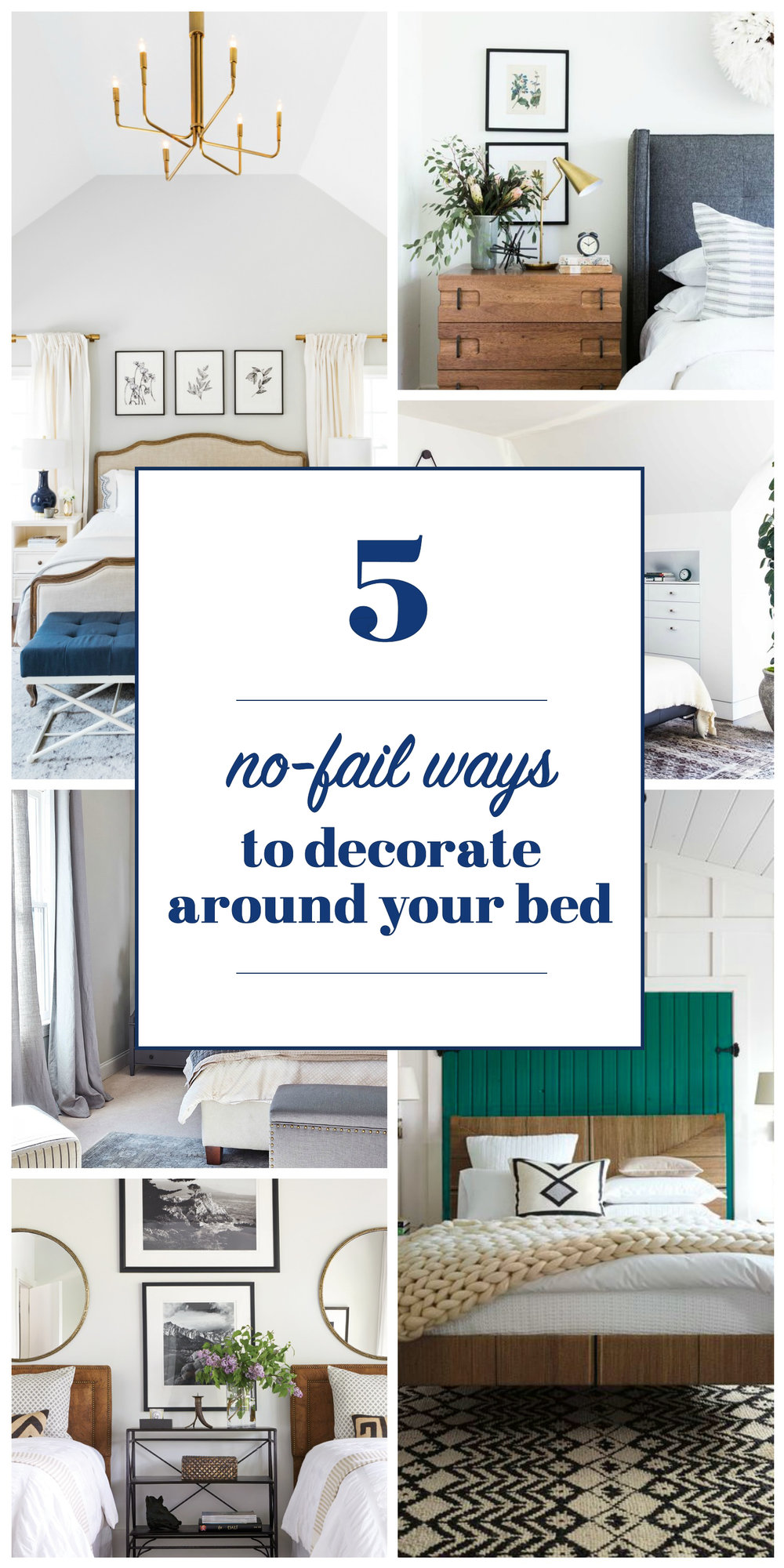 Discover five no-fail ways to decorate around a bed. // art above bed, mirrors above bed, art above nightstands, mirrors above bedside tables