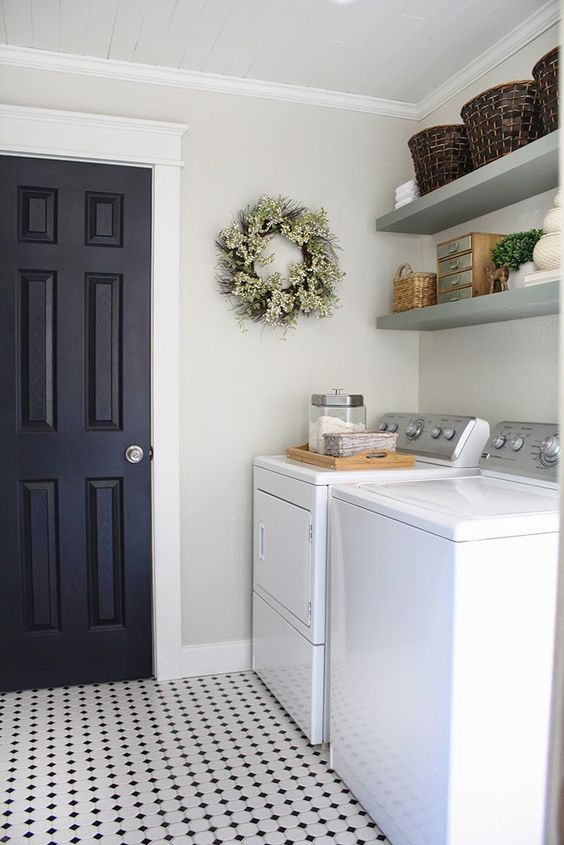 A fresh, clean, and bright laundry room.