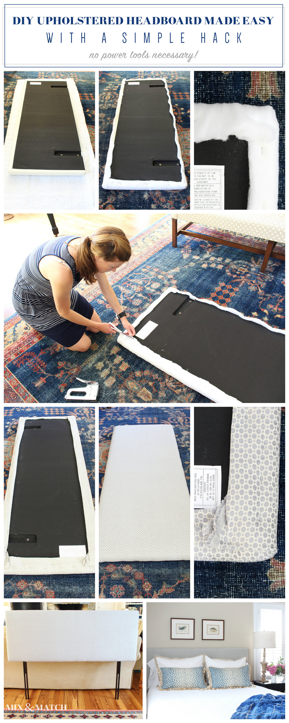 A step-by-step tutorial on how to DIY an upholstered headboard. // how to upholster a headboard
