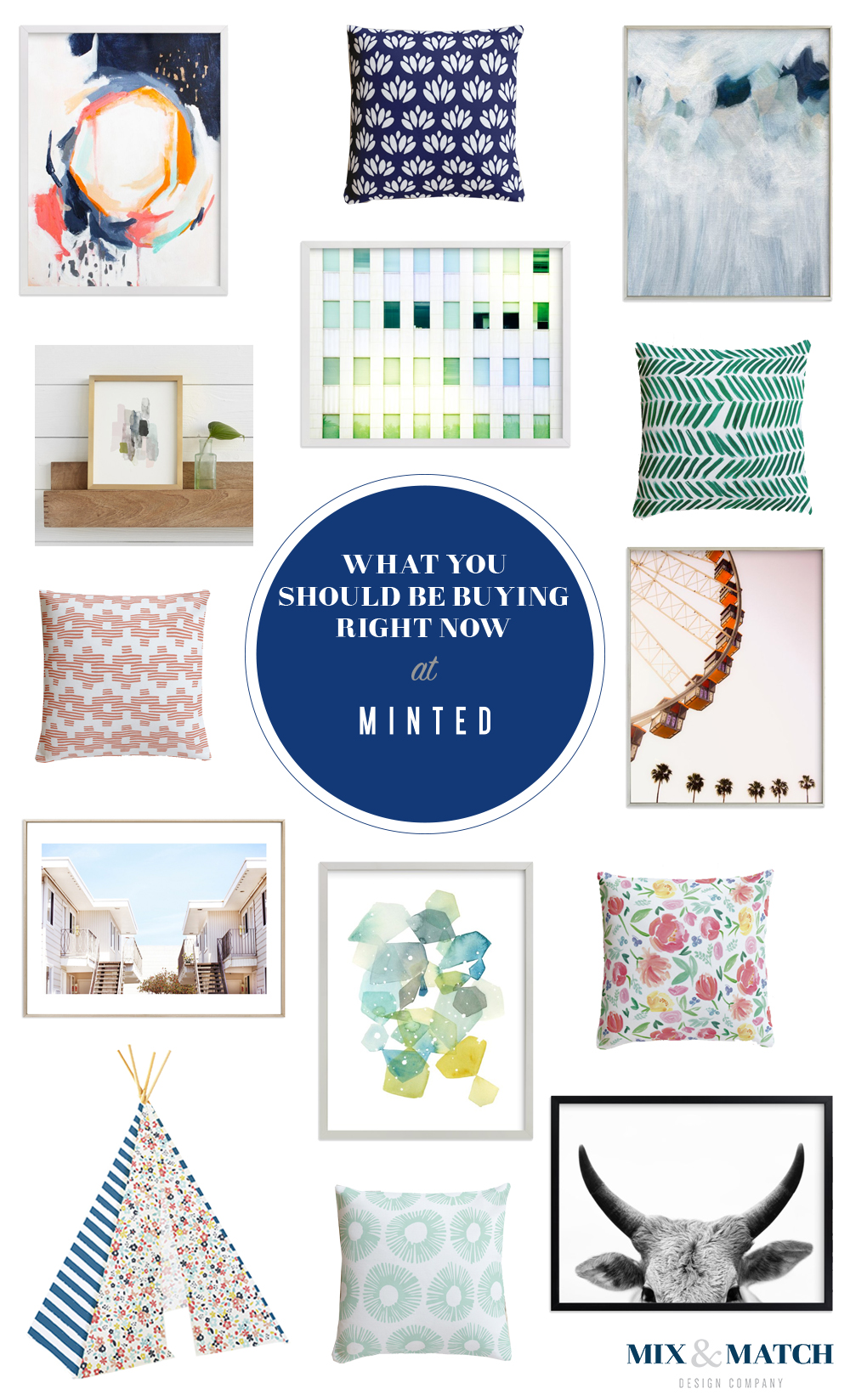 Minted: a secret source for home decor Art prints, art photography prints, abstract art, pillows, kid's teepees, and more! Shop these picks on the blog.