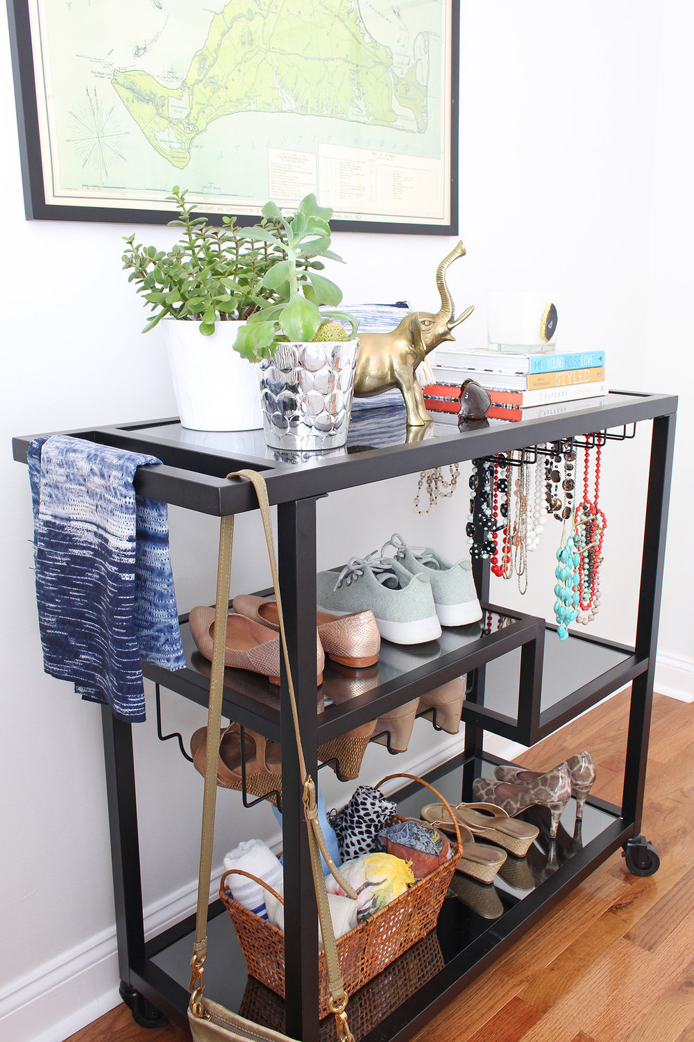 Bar carts are incredibly versatile! Style it up as a traditional drink station or use it in your bedroom for accessories. See both on the Mix & Match blog! // bar cart uses, bar cart setup, ways to use a bar cart, creative uses for a bar cart