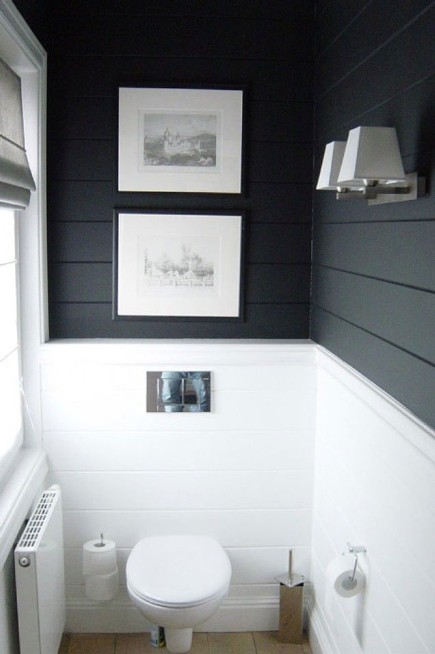 Dark shiplap bathroom // modern shiplap bathroom