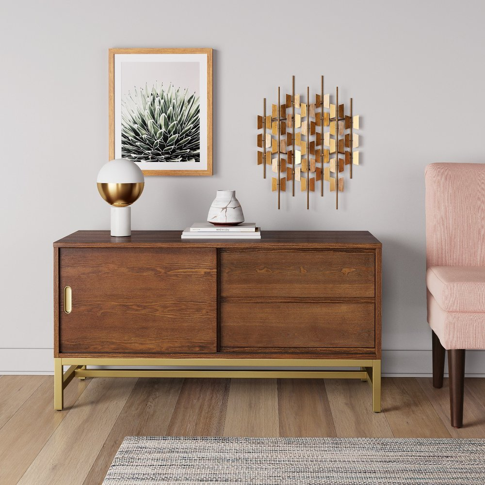 Brass and wood media console from Target's new Project 62 collection. // mid-century modern furniture