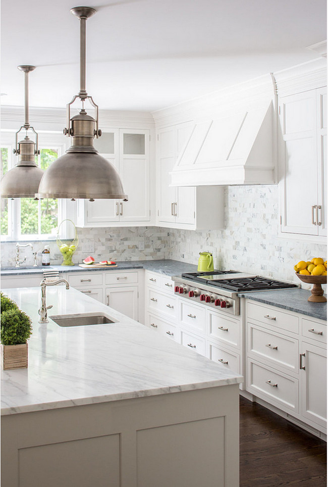 Calacatta marble and soapstone countertops. Find out how and when you should mix and match countertops in this post!