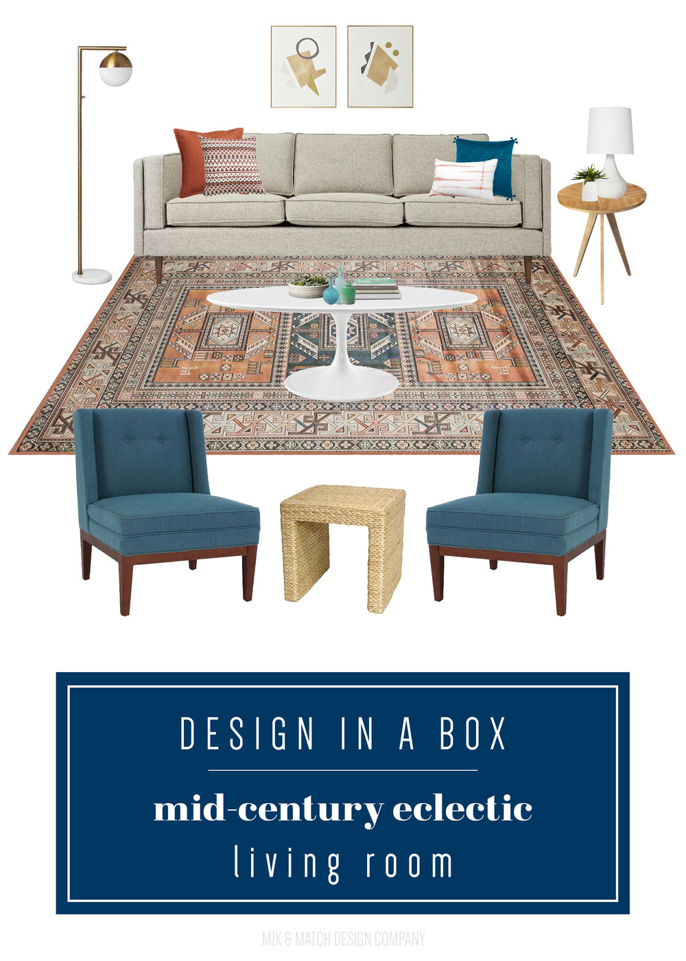 Through the Design In A Box series, you can get the sources for this look pulled together by an interior designer FOR FREE! This week it's a warm and inviting mid-century eclectic living room. || Mid-century living room, eclectic living room, persian rug, modern eclectic living room