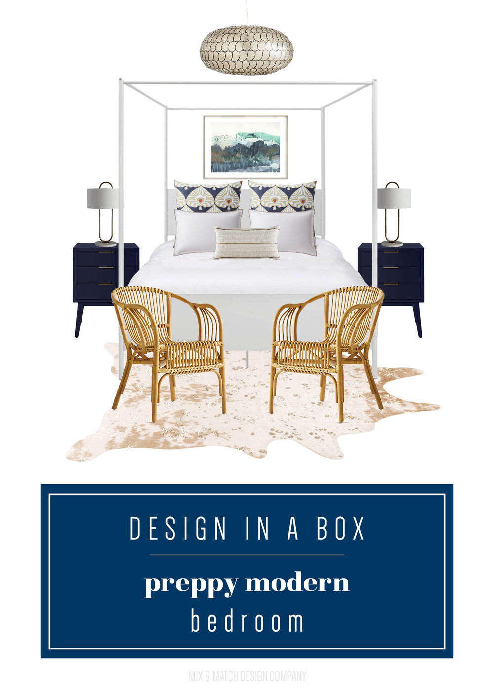 Through the Design In A Box series, you can get the sources for this look pulled together by an interior designer FOR FREE. This week it's a sophisticated preppy modern bedroom for under $2,000! || feminine bedroom, sophisticated bedroom, cowhide rug, modern canopy bed